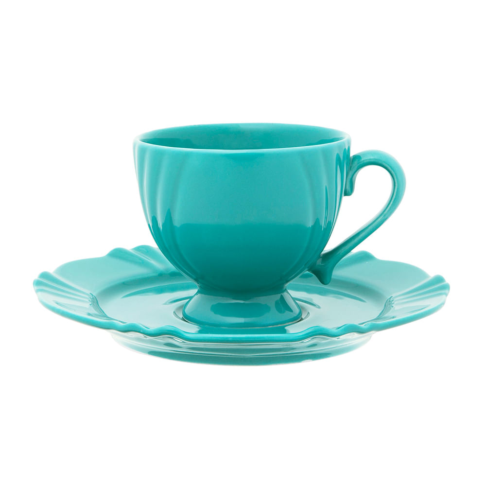 Conjunto c/ 6 Xícaras Grandes p/ Chá/Café 200ml c/ pires - Soleil Dreams -  Oxford Porcelanas - Oxford